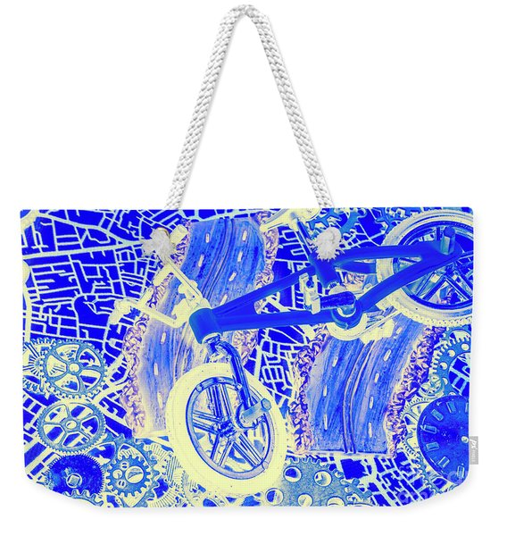 Biking Blue Weekender Tote Bag