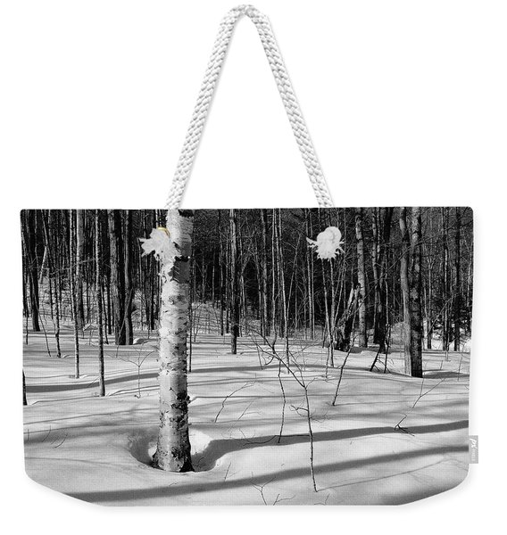 Weekender Tote Bag featuring the photograph Birch Shadow. by Jeff Sinon