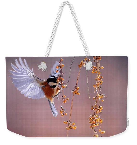 Bird Eating On The Fly Weekender Tote Bag