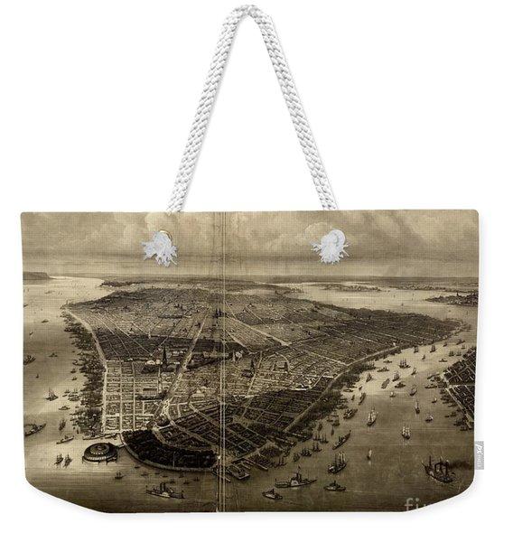 Bird's-eye View Of New York City 1851  Weekender Tote Bag