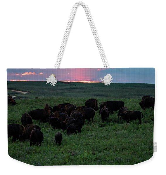 Bison At Sunset Weekender Tote Bag