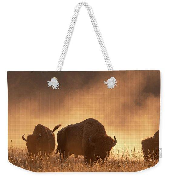 Bison In The Dust Weekender Tote Bag