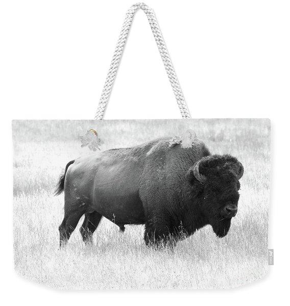 Bison - Monochrome Weekender Tote Bag