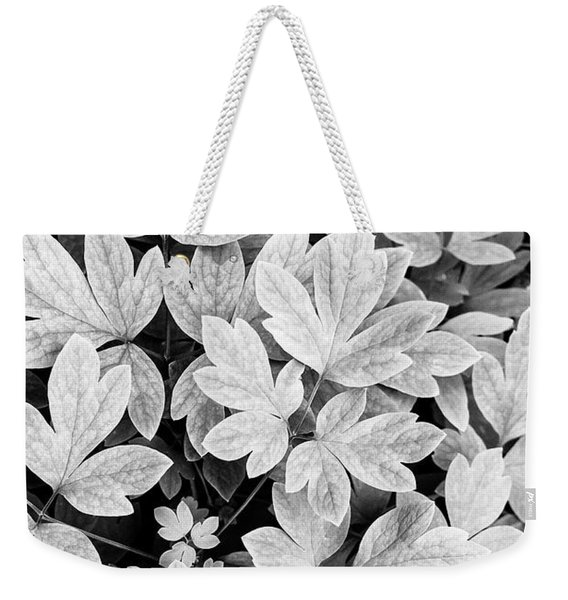 Black And White Abstract Leaves Weekender Tote Bag