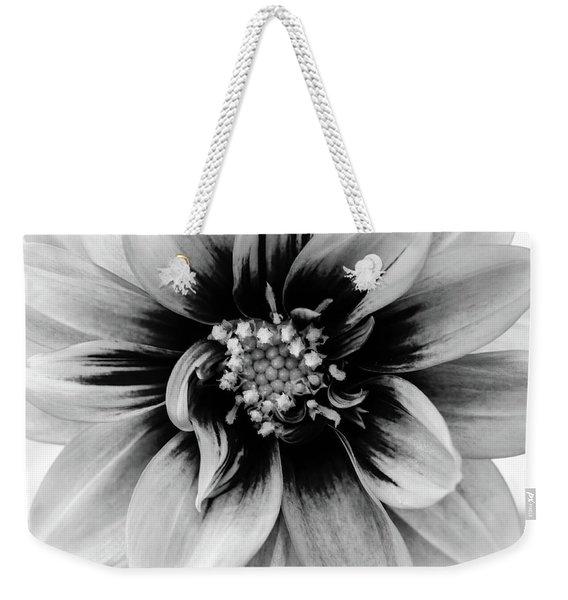 Black And White Dahlia Weekender Tote Bag