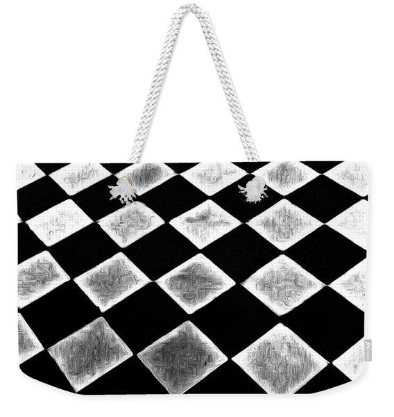 Black And White Floor Tile Weekender Tote Bag