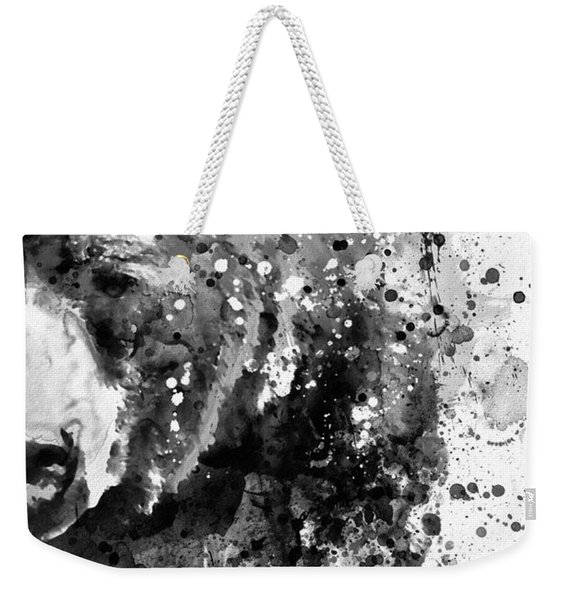 Black And White Half Faced Grizzly Bear Weekender Tote Bag