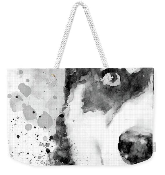 Black And White Half Faced Husky Dog Weekender Tote Bag
