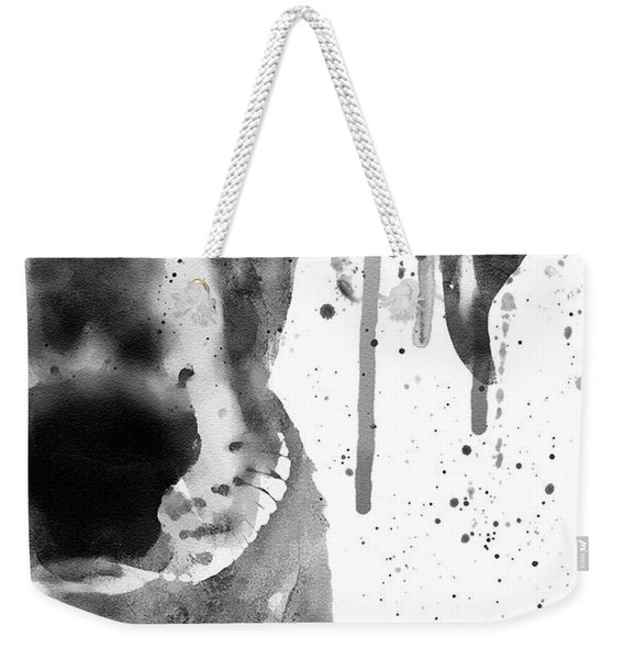 Black And White Half Faced Puppy Weekender Tote Bag