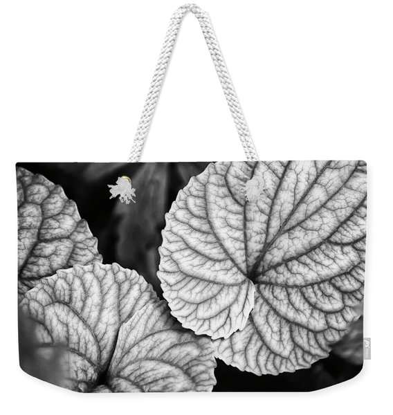 Black And White Leaves Abstract Weekender Tote Bag