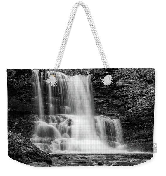 Black And White Photo Of Sheldon Reynolds Waterfalls Weekender Tote Bag