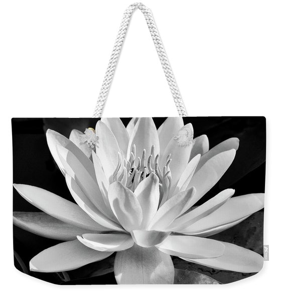 Black And White Water Lily Weekender Tote Bag