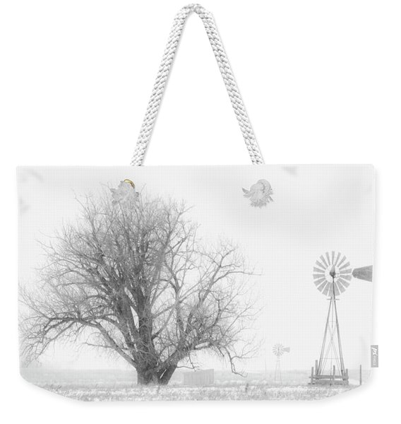 Weekender Tote Bag featuring the photograph Black And White Windmill 01 by Rob Graham