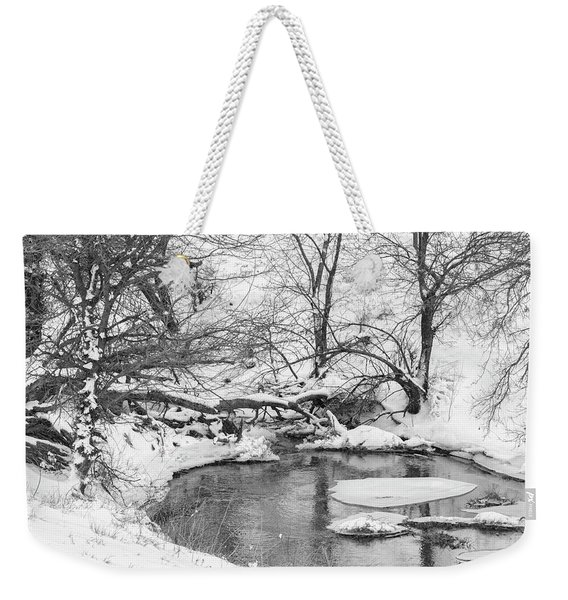 Weekender Tote Bag featuring the photograph Black And White Winter 01 by Rob Graham
