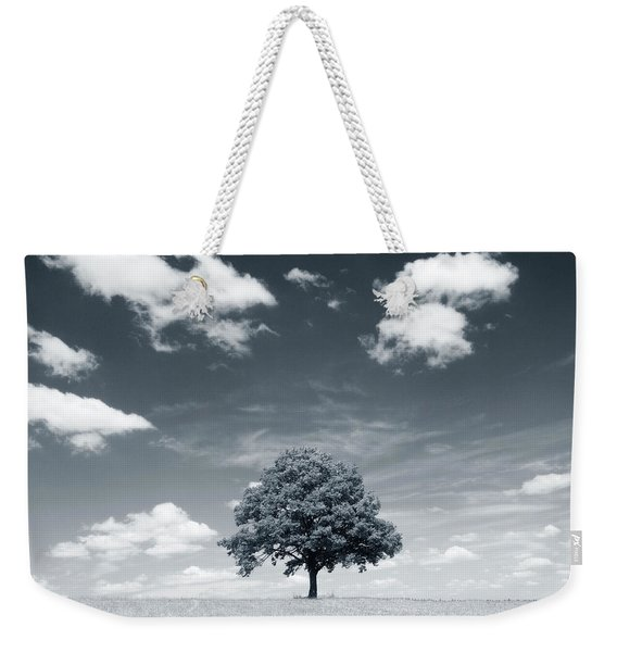 Black And White,lone Tree In A Field Weekender Tote Bag