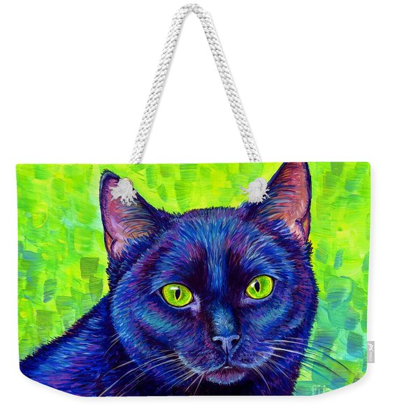 Black Cat With Chartreuse Eyes Weekender Tote Bag