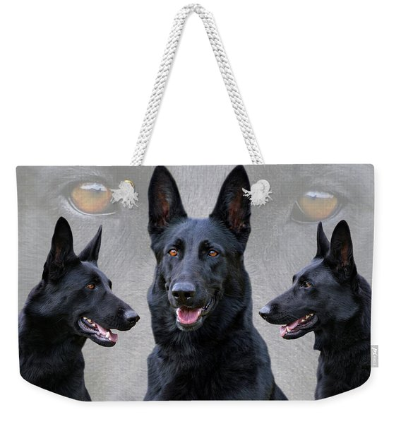 Black German Shepherd Dog Collage Weekender Tote Bag