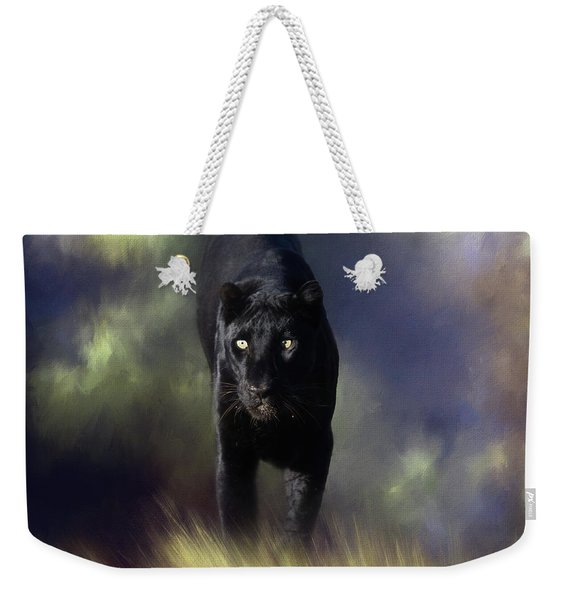 Black Leopard In The Grass Weekender Tote Bag
