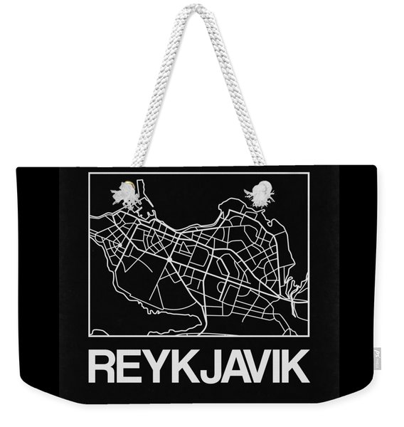 Black Map Of Reykjavik Weekender Tote Bag