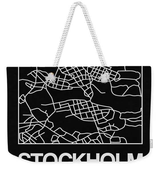 Black Map Of Stockholm Weekender Tote Bag