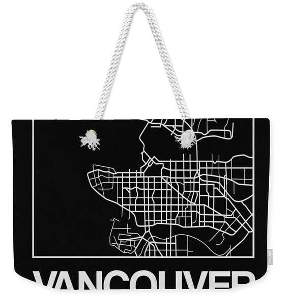 Black Map Of Vancouver Weekender Tote Bag