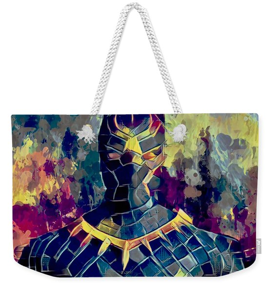 Weekender Tote Bag featuring the mixed media Black Panther by Al Matra