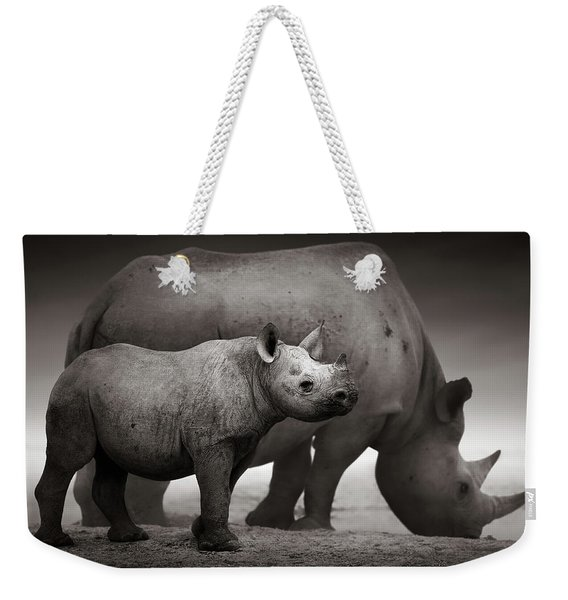 Black Rhinoceros Baby And Cow Weekender Tote Bag