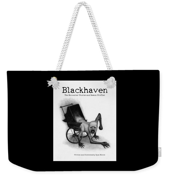 Weekender Tote Bag featuring the drawing Blackhaven The Encounter Stories And Demon Profiles Bookcover, Shirts, And Other Products by Ryan Nieves