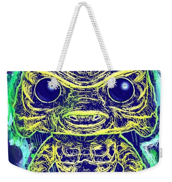 Weekender Tote Bag featuring the mixed media Creature From The Black Lagoon Pop by Al Matra