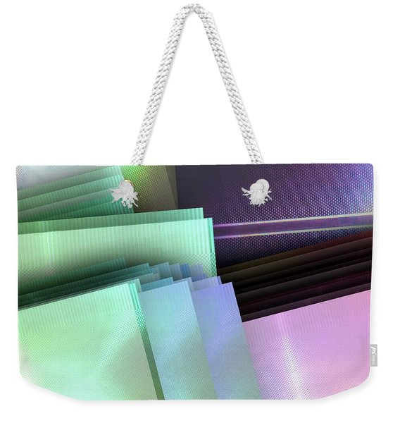 Blank Reflective Aluminum Plates. Blue, Pink And Purple. Fashion Abstract Background. Weekender Tote Bag