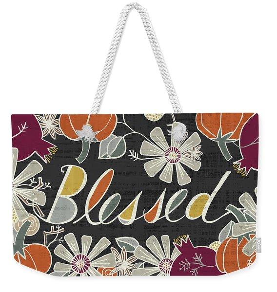 Blessed Fall Art Black Background Weekender Tote Bag