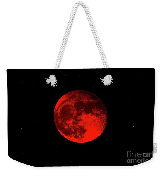 Blood Red Wolf Supermoon Eclipse 873a Weekender Tote Bag