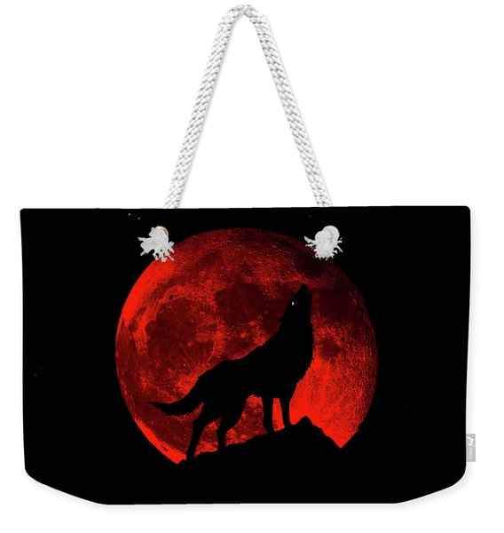 Blood Red Wolf Supermoon Eclipse 873l Weekender Tote Bag