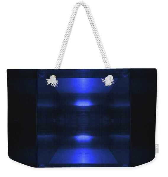 Blue Aluminum Surface. Metallic Geometric  Fashion Background Weekender Tote Bag