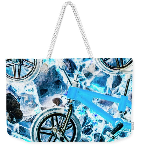 Blue Bike Background Weekender Tote Bag