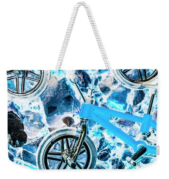 Blue Bike Background Weekender Tote Bag