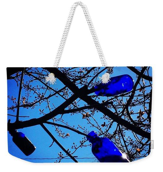 Blue Bottles In Tree Weekender Tote Bag
