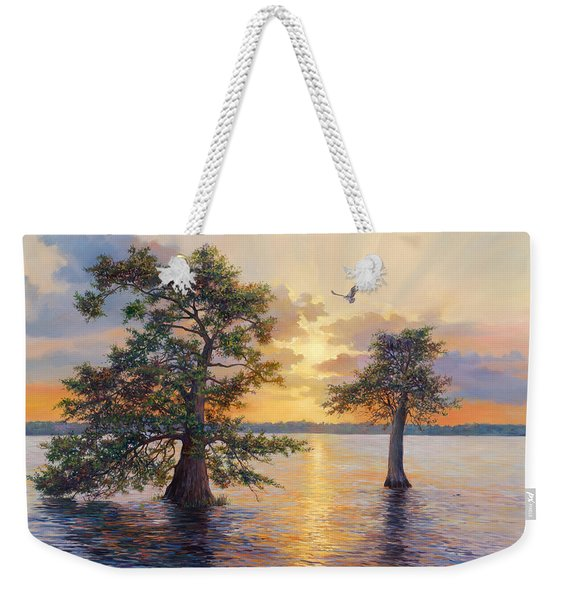 Blue Cypress Sunset Weekender Tote Bag