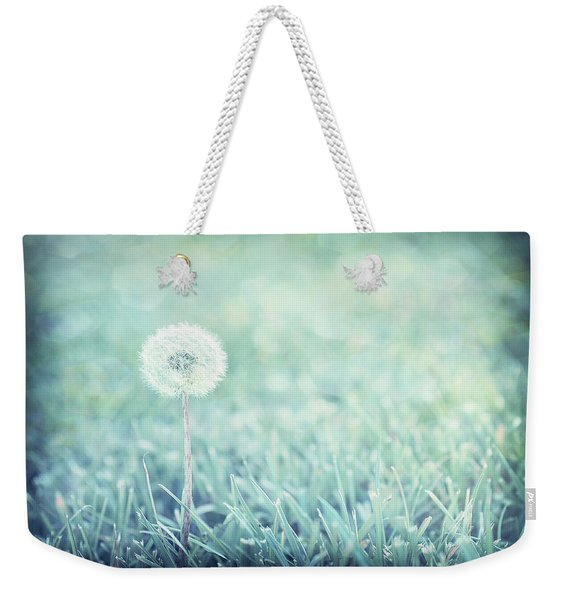 Weekender Tote Bag featuring the photograph Blue Dandelion by Michelle Wermuth