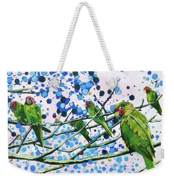 Blue Dot Parakeets Weekender Tote Bag