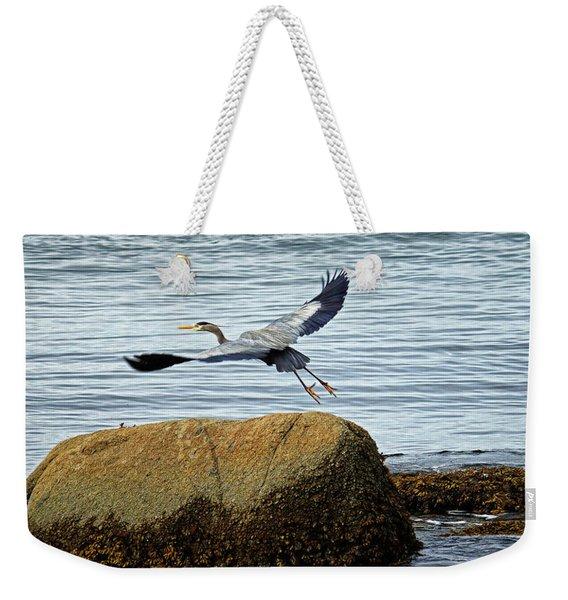 Blue Heron In Flight Weekender Tote Bag