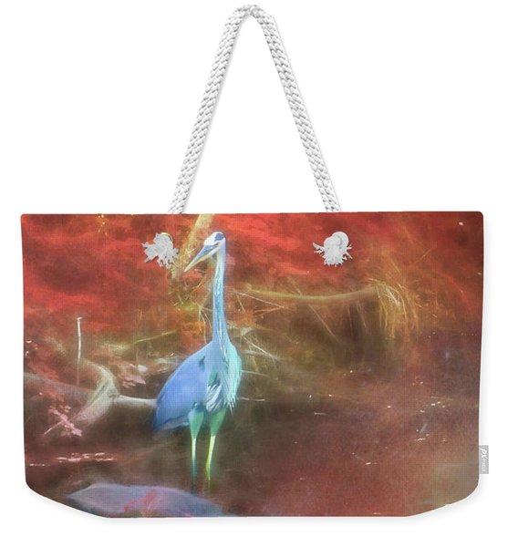 Blue Heron Red Background Weekender Tote Bag