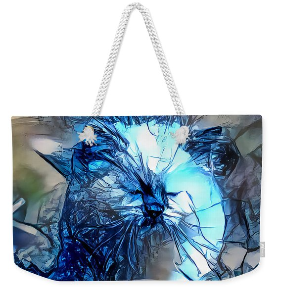 Weekender Tote Bag featuring the digital art Blue Himmy Cat by Don Northup