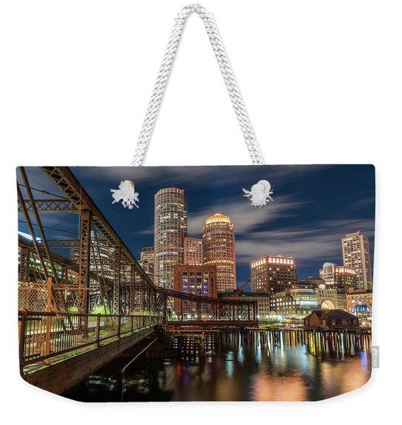 Blue Hour In Boston Harbor Weekender Tote Bag