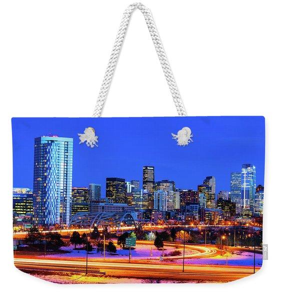 Blue Hour Over Denver Weekender Tote Bag