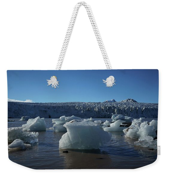Blue Icebergs Floating Along Storm Arctic Coast Panorama Weekender Tote Bag