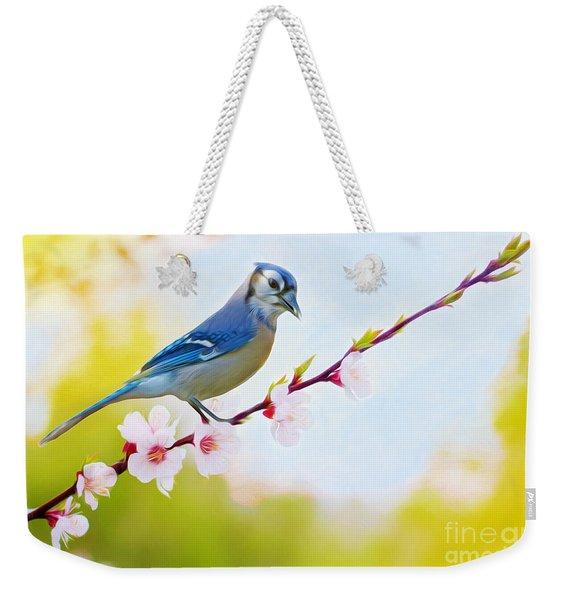 Blue Jay On Cherry Tree Weekender Tote Bag