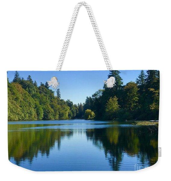 Blue Lake Reflections  Weekender Tote Bag