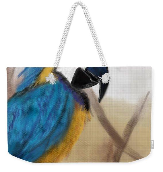 Weekender Tote Bag featuring the digital art Blue Parrot by Fe Jones