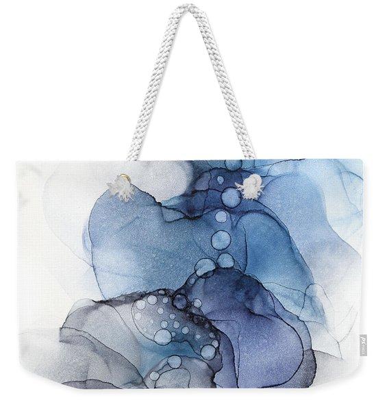 Blue Petal Dots Whispy Abstract Painting Weekender Tote Bag